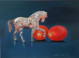 Alexander Giza-Ciobanu. Still life with tomatoes