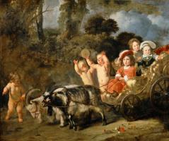 Дети из знатных семей в повозке, запряженной козами