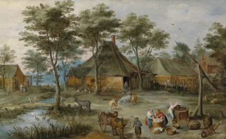 Rural landscape with a well