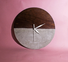 Wood clock with concrete