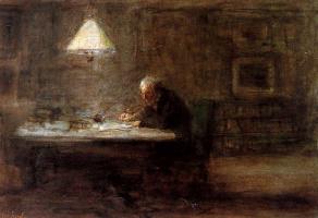 Йозеф Исраэлс. Пишущий мужчина за столом