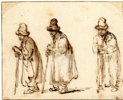 Рембрандт Харменс ван Рейн. Трое мужчин в высоких меховых шапках