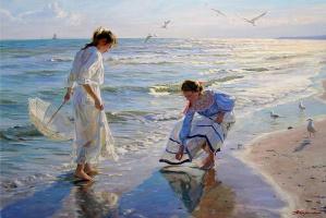 Александр Николаевич Аверин. Две девушки ищут янтарь на пляже.