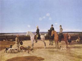 Вильгельм Александр Вольфганг фон Кобелль. Верховые охотники в верхнебаварском пейзаже