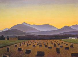 Рокуэлл Кент. Вечерний пейзаж. Тюки сена