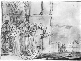 Рембрандт Харменс ван Рейн. Лот и его семья покидают Содом