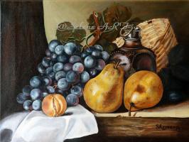 Груши, виноград, оливковое масло, сливы и плетеная корзина