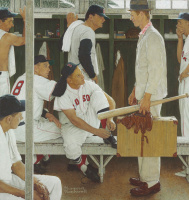 "Норман Роквелл. The Rookie (Red Sox Locker Room). Обложка журнала ""The Saturday Evening Post"" (2 марта 1957 года)"