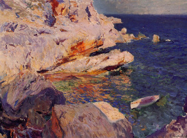 Хоакин Соролья (Соройя). Скалы и белая лодка, Хавея