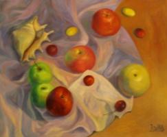 Лариса Луканева. Натюрморт с яблоками и раковиной