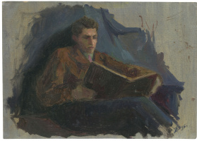 Alexandrovich Rudolf Pavlov. Study of a man reading a book.