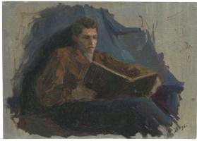 Alexandrovich Rudolf Pavlov. Study of a man reading a book.