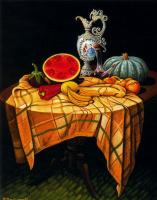 Эмилио Бонет Казанова. Натюрморт с арбузом, перцем и бананами