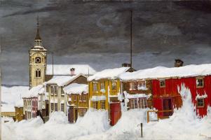 Harald Oscar Solberg. Street in Røros in Winter