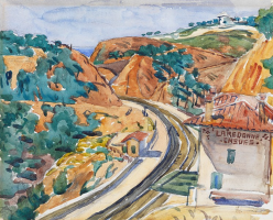 Landscape with the train station