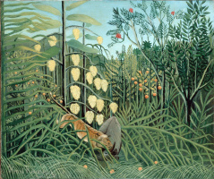 Henri Rousseau. Fighting tiger and Buffalo