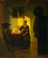 Питер де Хох. Пара, играющая в карты, и служанка