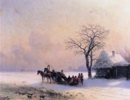 Ivan Aivazovsky. Winter scene in Ukraine