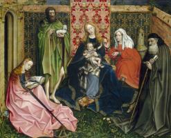 Робер Кампен. Богородица с ребенком и святыми в закрытом саду