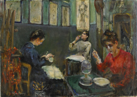 Mina Carlson-Bredberg. Académie Julian, Mademoiselle Beson Drinking from a Glass
