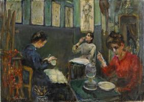 Mina Carlson-Bredberg. Académie Julian, Mademoiselle Beson Drinking from a Glass