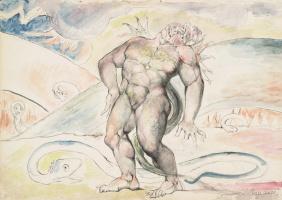 """Уильям Блейк. Аньоло Брунеллески трансформируется в змея. Иллюстрации к """"Божественной комедии"""""""