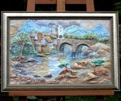"""Painting-bas-relief """"Quiet castle"""""""
