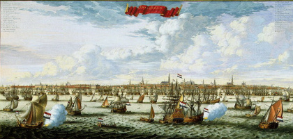 Daniel Stopendal. Panorama and plan of Amsterdam from the Bay Hey