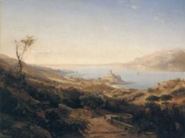 Йоханн Герман Кармиенк. Вид замка Мальчезине на озере Гарда, Италия