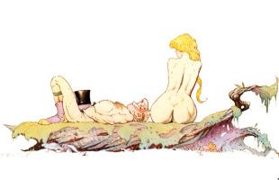 Фрэнк Фраззетта. Девушка наблюдает раздетого человека в шляпе
