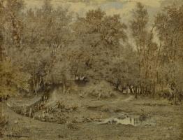 Теодор Руссо. Ручей в лесу Фонтенбло