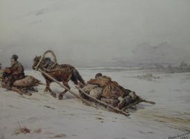 """Petr Petrovich Sokolov. """"Sleigh"""" 1869"""