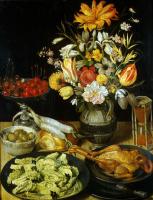 Георг Флегель. Натюрморт с цветами и закуской