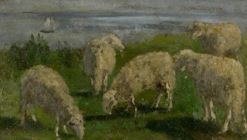 Eugene Boudin. Sheep in the meadow