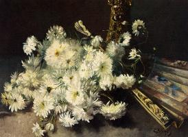 Гийом Вогелс. Натюрморт с хризантемами и веером
