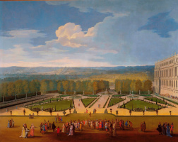 Этьен Аллегрен. Променад Людовика XIV в садах Версаля c видом на Северный партер