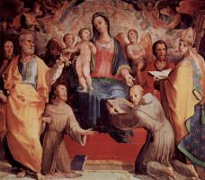 Доменико Беккафуми. Алтарь в капелле св. Бернардина в Сиене, центральная часть: Мадонна на троне