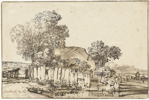 Rembrandt Harmenszoon van Rijn. A house with a white picket fence among the trees