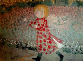 Морис Дени. Маленькая девочка в красном платье