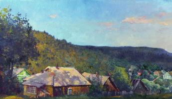 Alexander Victorovich Shevelyov. The warm rays. oil on cardboard.28.5 x 49 cm 2003