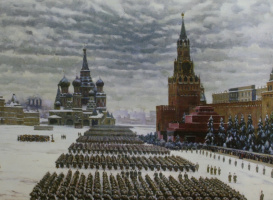 """Parade on Red Square in Moscow on November 7, 1941. Option-repetition of the picture of 1942 ""1949"