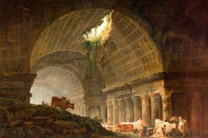 Hubert Robert. Gallery from ruins