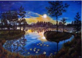 Татьяна Дудник. Полнолуние на болотистом озере.