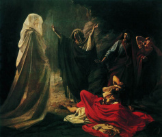 Nikolai Nikolaevich Ge. Endor the magician causes the shadow of Samuel (Saul at Endor witch)
