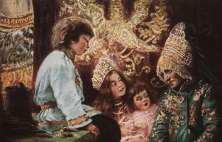 Konstantin Makovsky. Old wives ' tales. Dorevoljucionnoe card