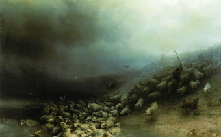 Ivan Aivazovsky. Flock of sheep in a storm