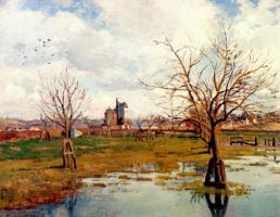 Камиль Писсарро. Пейзаж с затопленными полями