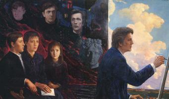 Илья Сергеевич Глазунов. Автопортрет с семьей.  1986