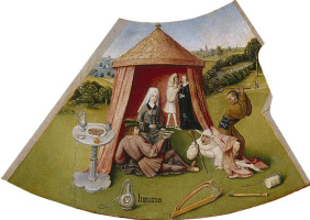 Hieronymus Bosch. Lust. The seven deadly sins and the Four last things. Fragment