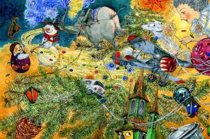"""Людмила Пипченко. Иллюстрация к книге Е.Ракитиной """"Приключения новогодних игрушек"""""""